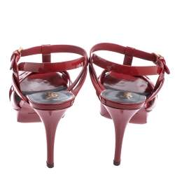 Saint Laurent Red Patent Leather Tribute Platform Ankle Strap Sandals Size 40.5