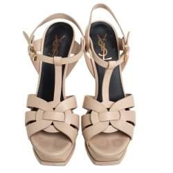Saint Laurent Beige Leather Tribute Platform Ankle Strap Sandals Size 39