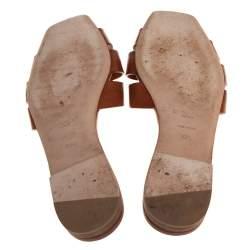 Saint Laurent Brown Leather Tribute Flat Slides Size 37.5