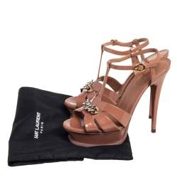 Saint Laurent  Brown Patent Leather Chain Tribute Sandals Size 37.5