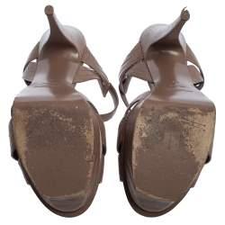 Saint Laurent Brown Lizard Embossed Leather Tribute Sandals Size 42