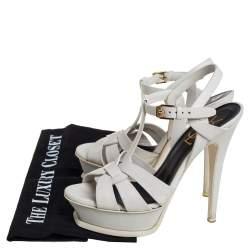 Saint Laurent White Leather Tribute Sandals Size 35.5