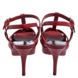 Saint Laurent Red Leather Tribute Platform Ankle Strap Sandals Size 38