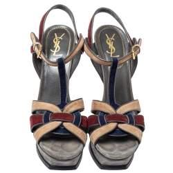 Saint Laurent Multicolor Suede Tribute  Sandals Size 40