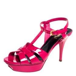 Saint Laurent Pink Patent Leather Tribute Sandals Size 41