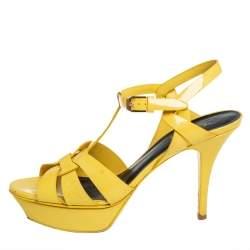 Saint Laurent Yellow Patent Leather Tribute Sandals Size 39