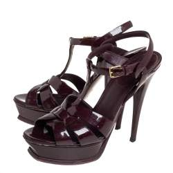 Saint Laurent Burgundy Patent Leather Tribute Sandals Size 39.5