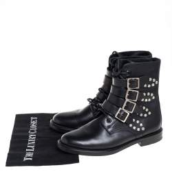 Saint Laurent Black Leather Buckle Detail Ankle Boots Size 38