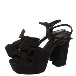 Saint Laurent Paris Black Suede Candy Platform Sandals Size 42