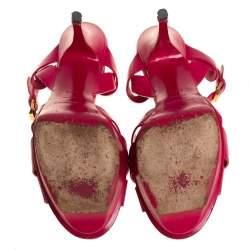 Saint Laurent Pink Leather Tribute Ankle Strap Platform Sandals Size 39.5