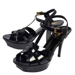 Saint Laurent Navy Blue Patent Leather Tribute Sandals Size 38.5
