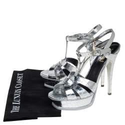 Saint Laurent Silver Croc Embossed Leather Tribute Platform Ankle Strap Sandals Size 38