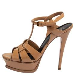 Saint Laurent Beige Patent Leather Tribute Platform Ankle Strap Sandals Size 38