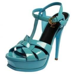 Saint Laurent Blue Patent Leather Tribute Sandals Size 38