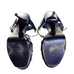 Saint Laurent Blue Leather Tribute Sandals Size 38.5