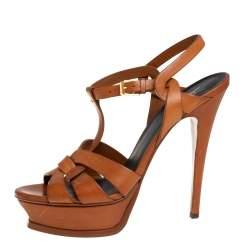 Saint Laurent Brown Leather Tribute Platform Ankle Strap Sandals Size 38.5