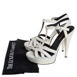 Saint Laurent White Embossed Python Leather Jodie Platform Ankle Strap Sandals Size 38