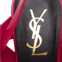 Saint Laurent Pink Leather Tribute Sandals Size 38.5