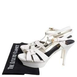 Saint Laurent Paris Off White Leather Tribute  Ankle Strap Sandals Size 38