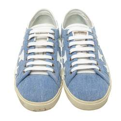 Saint Laurent Blue/White Denim And Leather Court Classic Star Low Top Sneakers Size 38.5