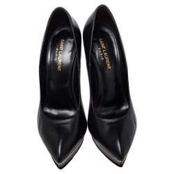 Saint Laurent Black Leather Pointed Toe Classic Janis Pumps Size 39