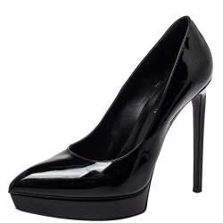 Saint Laurent Black Patent Leather Janis Pointed Toe Platform Pumps Size 40