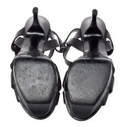 Saint Lauren Black Leather Tribute Platform Sandals Size 38