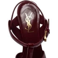 Saint Laurent Burgundy Patent Leather Tribute  Sandals Size 38