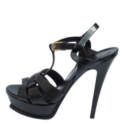 Saint Laurent Black Leather Tribute Sandals Size 37
