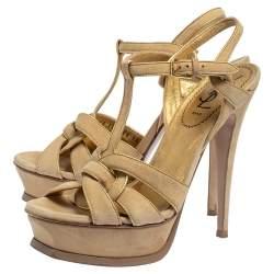 Saint Laurent Beige/Gold Suede Tribute Ankle Strap Sandals Size 38