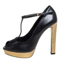 Saint Laurent Black/Gold Leather Peep Toe T- Strap Pumps Size 38