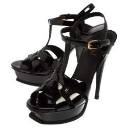 Saint Laurent Black Patent Leather Tribute Sandals Size 39