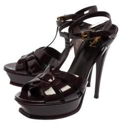 Saint Laurent Purple Patent Leather Tribute Platform Ankle Strap Sandals Size 41