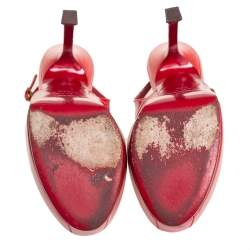 Saint Laurent Red Patent Leather Tribtoo Sandals Size 37.5
