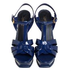 Saint Laurent Blue Patent Leather Tribute  Ankle Strap Sandals Size 39.5
