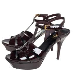Saint Laurent Brown Patent Leather Tribute Sandals Size 40
