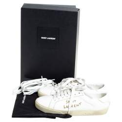 Saint Laurent White Leather Court Classic Low Top Sneakers Size 36.5