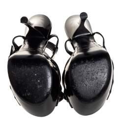 Saint Laurent Black Leather Candy Bow Platform Sandals Size 36
