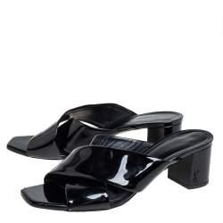 Saint Laurent Black Patent Leather Loulou Criss Cross Mules Size 39.5