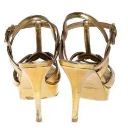 Saint Laurent Gold Leather Tribute Sandals Size 37.5