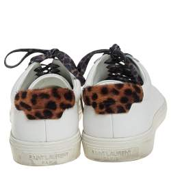 Saint Laurent White Leather and Pony Hair Leopard Print Andy Low Top Sneakers Size 37