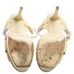 Saint Laurent White Patent Leather Tribute  Sandals Size 39