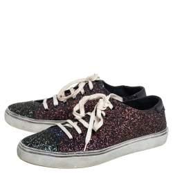 Saint Laurent Multicolor Glitter Low Top Sneakers Size 39.5