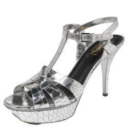 Saint Laurent Silver Croc Embossed Leather Tribute Sandals Size 39.5