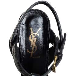 Saint Laurent Black Croc Embossed Leather Tribute Sandals Size 35