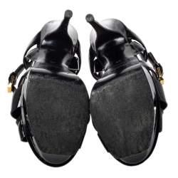 Saint Laurent Black Patent Leather Tribute Sandals Size 35