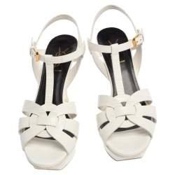 Saint Laurent White Lizard Embossed Leather Tribute Platform Sandals Size 37.5