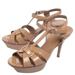 Saint Laurent Beige Patent Leather Tribute Sandals Size 40