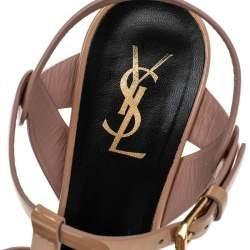 Saint Laurent Beige Patent Leather Tribute Platform Ankle Strap Sandals Size 38.5