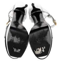 Saint Laurent Metallic Silver Leather Tribute Sandals Size 41